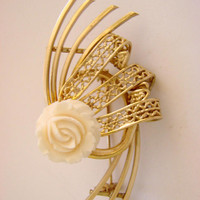Vintage Hand Carved White Rose Filigree Gold Tone Brooch / Floral Brooch / Jewelry / Jewellery