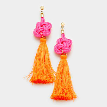 Orange & Pink Thread Tassel Knot Earrings