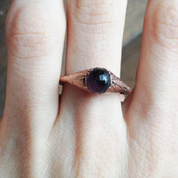 Purple Glass Ring - Tiny Ring - Copper Electroformed Ring - SIZE 7.5