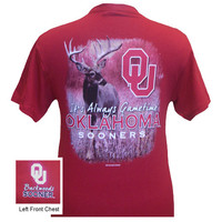 SALE Oklahoma Boomer Sooners OU Gametime Deer Backwoods Unisex Bright T Shirt