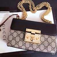 GUCCI Classic Retro Women Leather Metal Chain Shoulder Bag Crossbody Satchel