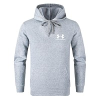 Under Armour Autumn And Winter Fashion New Letter Print Women Men Hooded Long Sleeve Top Sweater Gray