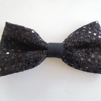 Girls sparkly Black sequin fabric hair bow, sparkly hair bows, sequin fabric hair bow, girls hair bow, girls hair barrette, simple hair bow