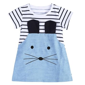 Summer Dress Girls Striped Patchwork Short Sleeve Cute Mouse Children Clothing Denim Dress for Children Clothes Vestidos