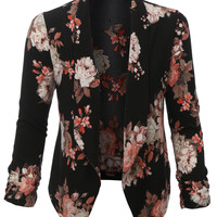LE3NO Womens Floral 3/4 Sleeve Open Front Blazer (CLEARANCE)
