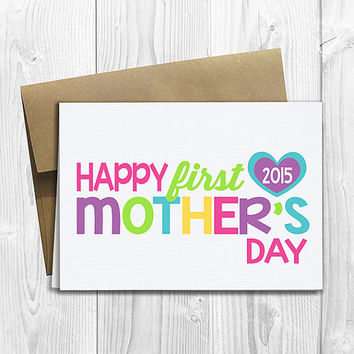 PRINTED Happy First Mother's Day 5x7 Greeting Card - Cute 1st Mother's Day Notecard