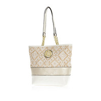 River Island Girls white straw shopper