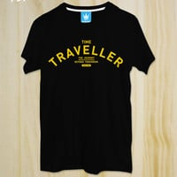 "New ""Time Traveller"" ,Black Tshirt, Typography,Men Clothing,Unisex,Graphic tee,rock Tshirt,Tumblr shirt"
