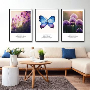 SURE LIFE Modern Refreshing Purple Lavender Flowers Canvas Paintings Butterfly Posters Home Wall Art Pictures Living Room Decor