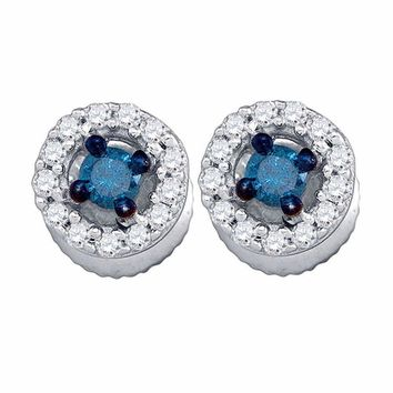10kt White Gold Women's Round Blue Color Enhanced Diamond Stud Earrings 1-4 Cttw - FREE Shipping (US/CAN)