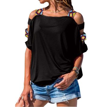 Sexy Off Shoulder TShirt Women Summer T Shirt Solid Color Hollow Out Short Sleeve Loose Casual Tees Tops Plus Size Streetwear