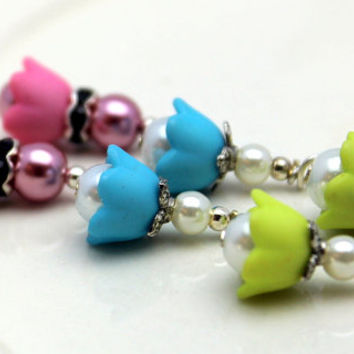 3 Pair of Baby Bell Lucite Flower Bead Dangle Charm Drop Sets In Pink Aqua Blue and Baby Green with Pearls