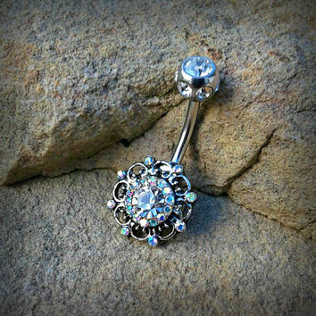 Vintage Swirl Multi Paved Gem Belly Button Ring Rhinestone Body Jewelry 14ga Surgical Stainless Steel