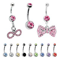 BodyJ4You 12PCS 14G Belly Button Ring Clear CZ Dangle Pink Bow Navel Piercing Jewelry Set
