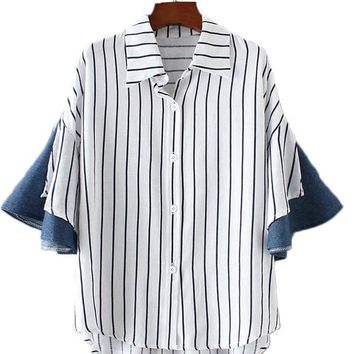 Casual Women Loose Horn Sleeve Striped Patchwork Shirts