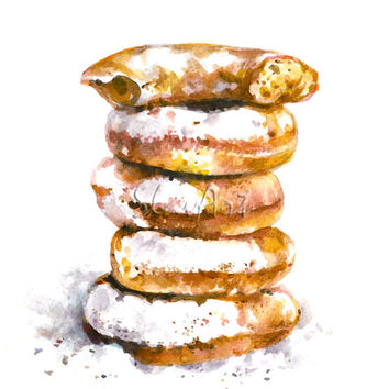 Mini Donuts Vanilla Cookie Sweet Dessert Sugar Watercolor Fine Art Print Food Art Still Life Home Decor Realistic Kitchen art Illustration
