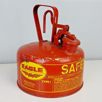 Vintage Eagle Safety Gas Can, Industrial Vintage Gas Can, Garage Decor, Man Cave Decor, Red and Yellow Gas Can, Red and Yellow Decor