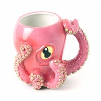 Pink Octopus Ceramic 3D Coffee Mug with Tentacle Handle