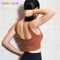 Colorvalue Push Up Plain Sport Bra Top Women Quick Dry Vest-Type Fitness Crop Top Yoga Bras Padded Workout Gym Sport Brassiere