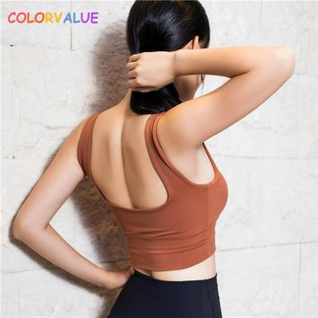 30d00d13a4 Colorvalue Push Up Plain Sport Bra Top Women Quick Dry Vest-Type