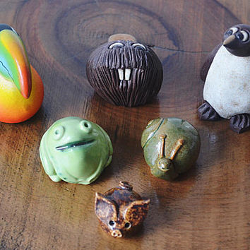 Miniature Animal Collection, Toucan, Beaver, Penguin, Snail, Frog, Piglet, Vintage Miniatures, Whimsical Animal Figurines