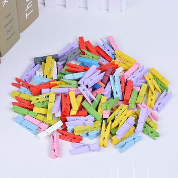 YOWEI 50 PCS 25mm 35mm Mixed color Mini Wooden Clothes Photo Paper Peg Pin Clothespin Craft Clips