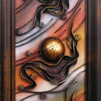 3D Hand-Painted Leather Wall Art Decor Picture, Wooden Frame, Hand Painted Ceramic Hemispheres, Acrylic Paste Relief Background