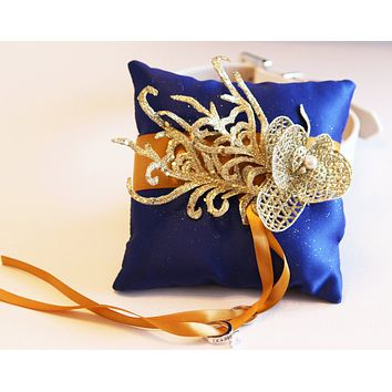 Royal Blue Gold Ring Pillow dog Collar, Ring Bearer Pet wedding, Royal wedding