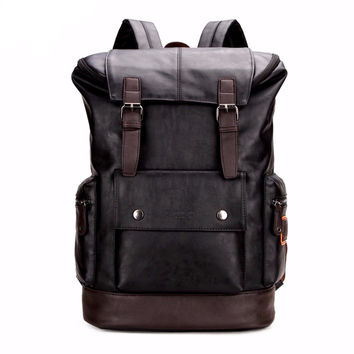 PU Leather Patchwork Backpack