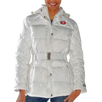 San Francisco 49ers Ladies Icing Full Zip Quilted Jacket - White