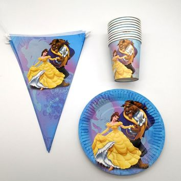 50PCS Beauty Beast Theme Plates Cups Birthday Party Decoration Flags Happy Baby Shower Hanging Banner Girls Favors Tableware Set