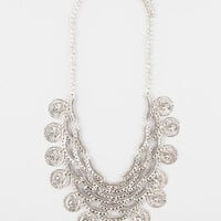 Full Tilt Scalloped Coin Statement Necklace Silver One Size For Women 27296214001