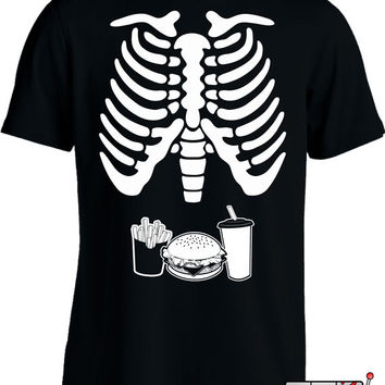 Burger Fries & Drink Skeleton Rib Cage T Shirt Halloween Costume T-Shirt Funny Daddy To Be Shirt Expectant Father Men's Tee