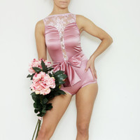 FAVORI - Blush pink satin and floral lace bodysuit / Ready to ship