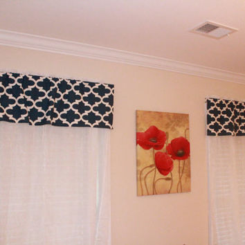 Geometric Blue Valance, Red, Orange, Valance for Home