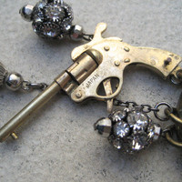 Long Vintage Assemblage Necklace - Gun - Tassel - Leather - Crystal - Charm Necklace