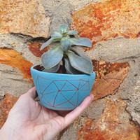 Hand Carved Turquoise Geometric Table Planter / Turquoise & Red Stoneware Table Planter / Succulent, Cactus, Herb, or Air Plant Pot