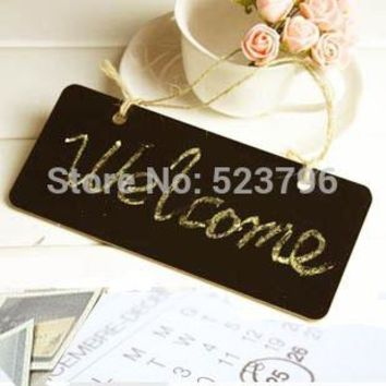 Wooden Hanging Mini Small Blackboard Leave A Message WordPad Room Doorplate Chalkboard With Rope