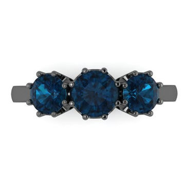 Three-Stone London Blue Topaz Band French Style Fine Jewelry 14K Black Gold Women's Ring Gemstone Gifts December Birthstone Presents -V1128