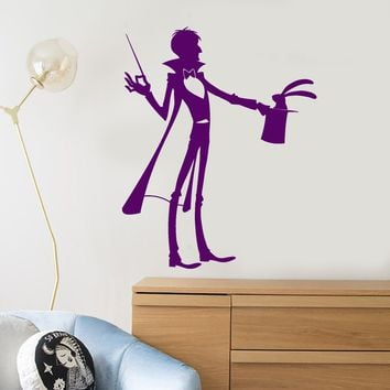 Vinyl Wall Decal Magician Illusionist Magic Wand Rabbit In Hat Stickers (2247ig)
