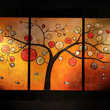 Tree of Life Abstract Oil Painting Textured Wall Decor Fine Art Orange Yellow