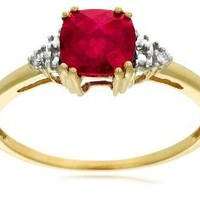 10k Yellow Gold, July BirthStone, Created Ruby and Diamond Ring, Size 7