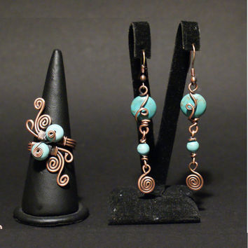 Turquoise Copper set ( Necklace, ring, earring ) Copper Jewelry, Copper Necklace, Copper Ring, Copper Erarring