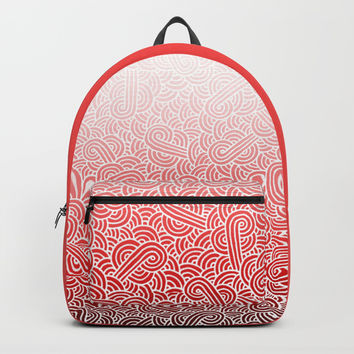 Ombre red and white swirls doodles Backpack by Savousepate