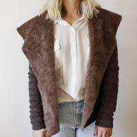 BROWN FAUX SHEARLING LEATHER SWEATER COAT