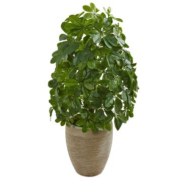 Artificial Plant -Schefflera Plant with Sand Colored Planter-Real Touch