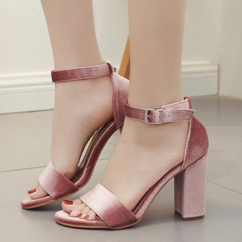 Suede Peep-toe Chunky Heel Summer Ankle Strap Sandals