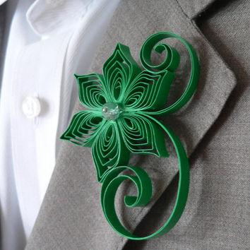 Emerald Green Boutonniere, Emerald Buttonhole, Emerald Wedding Boutonniere, Mens Wedding Boutonnieres