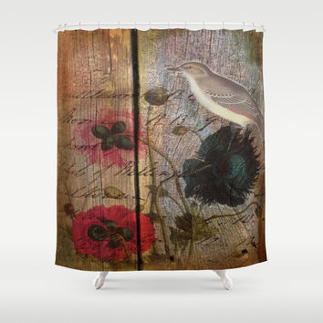 elegant wood grain vintage bird scripts poppy flowers botanical art Shower Curtain by Chicelegantboutique