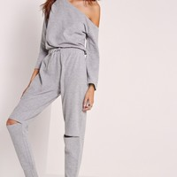 Missguided - Off The Shoulder Jumpsuit Grey